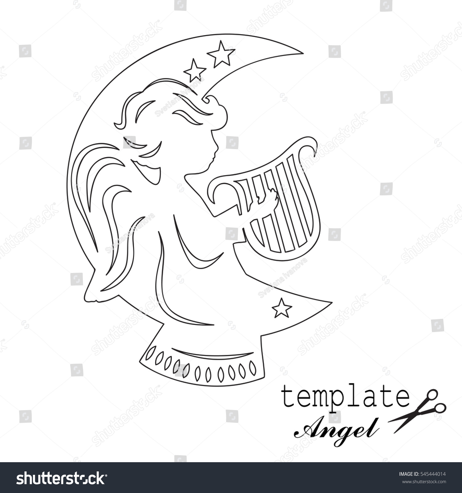 Template Angel Cut Laser Engraved Stencil Stock Vector 545444014