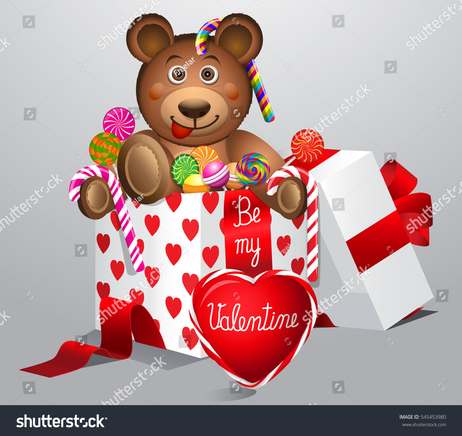 Valentines Day.Cute Valentines Day Teddy Bear With Colorful Sweets In Gift  Box Isolated On