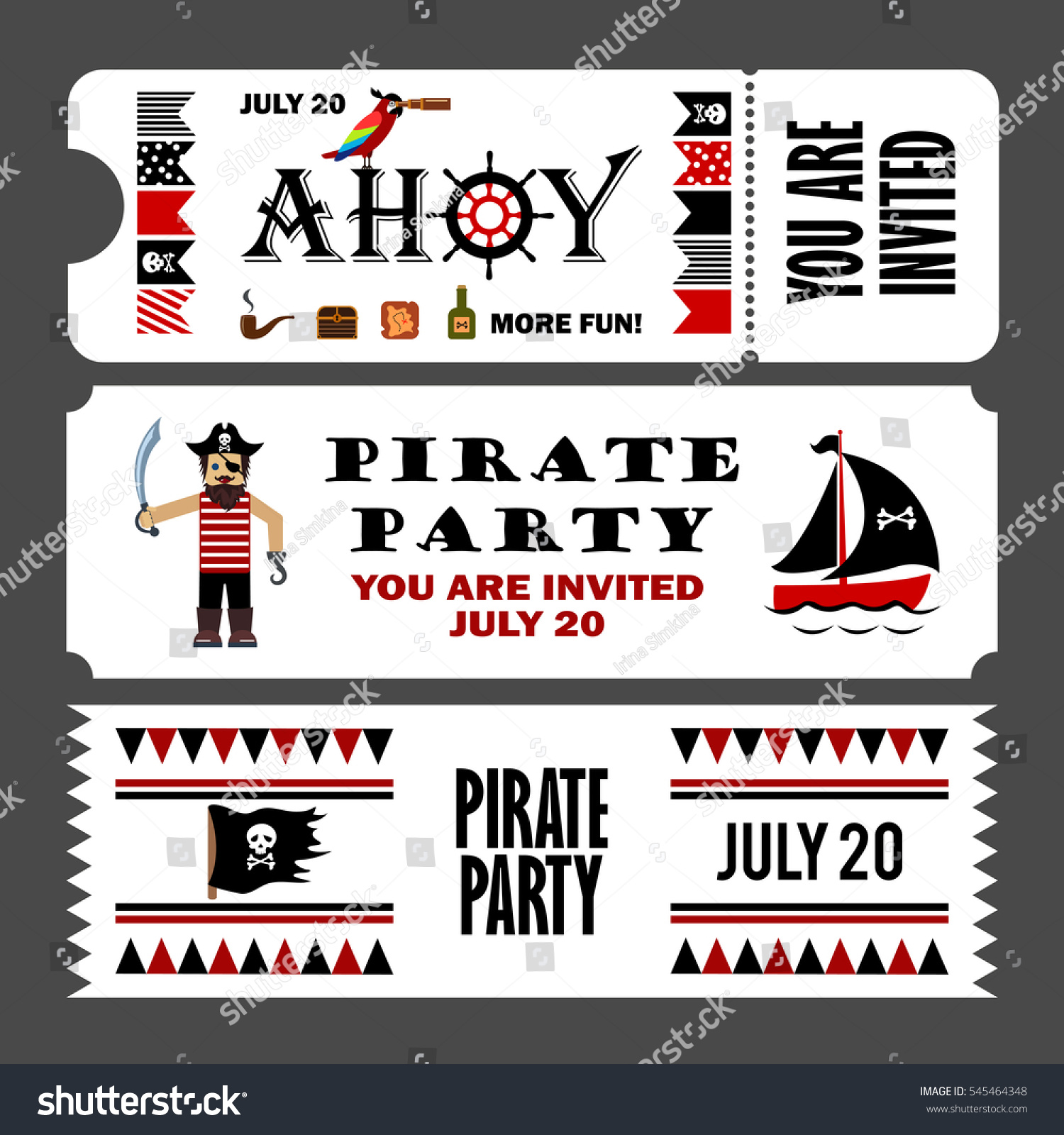 Printable Set Vintage Pirate Party Invitation Stock Illustration ...