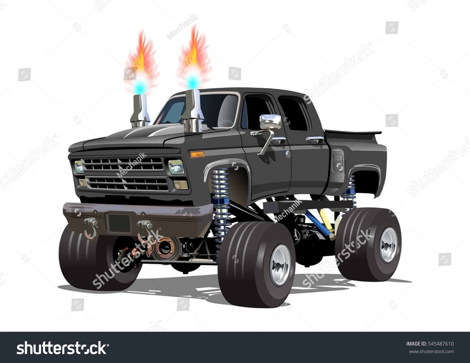 cartoon monster truck available eps10 separated stock vector