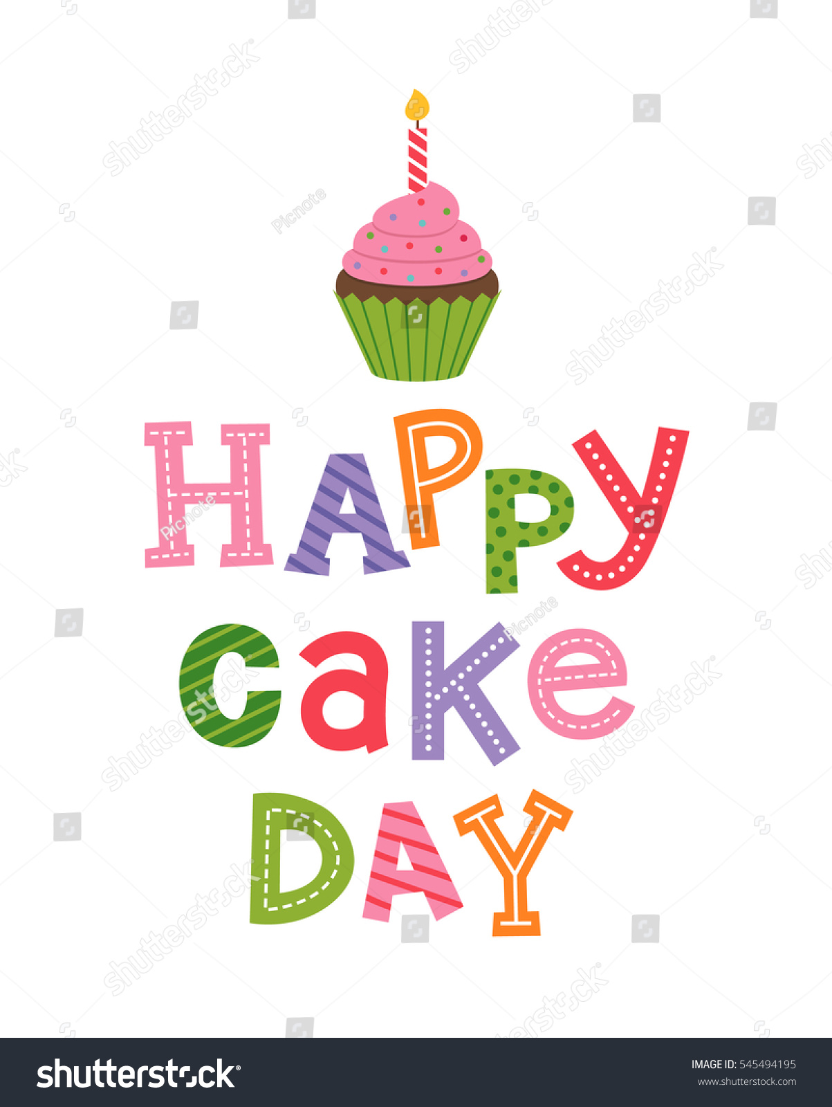 Happy Cake Day Typography Design Cupcake Stock Vector