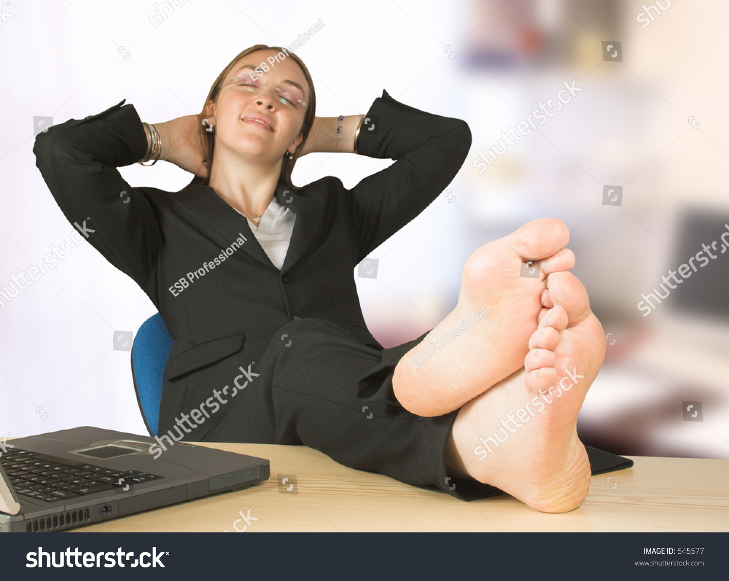 Business Woman Her Feet Office Stock Photo 545577