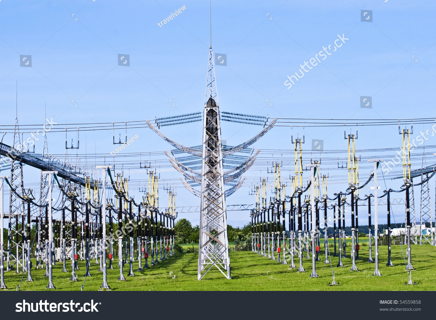 electrical power plant in beautiful colorful meadow stock photo, wiring diagram