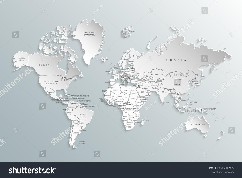 Political Map World Gray World Mapcountries Stock Vector - Gray map us