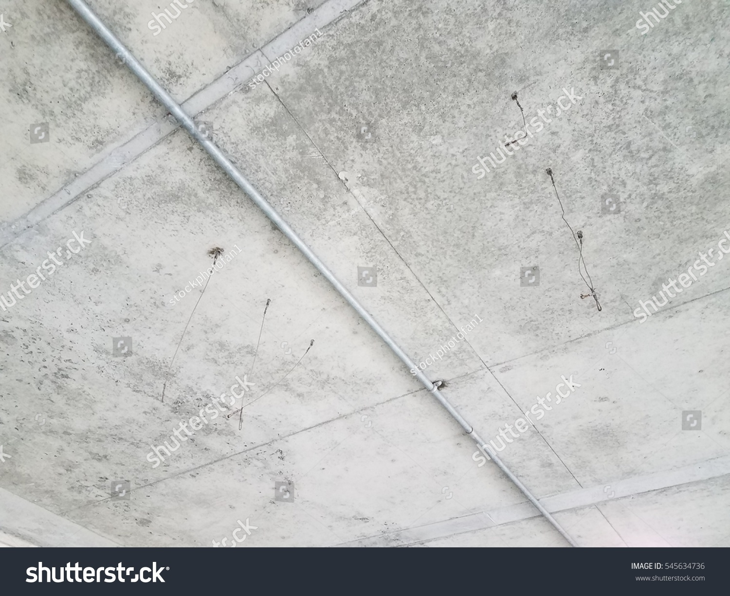 Wires Hanging Cement Ceiling Stock Photo (Safe to Use) 545634736 ...