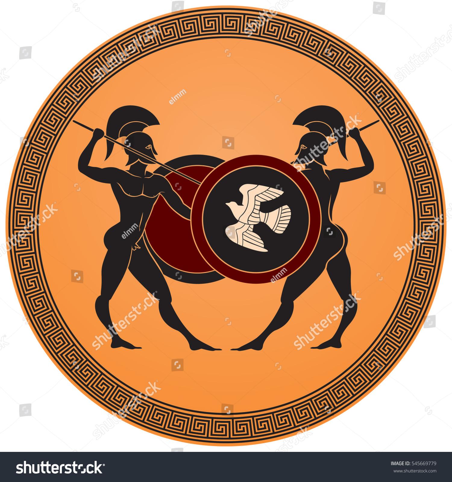 Greek warriors battle warriors armed spears stock vector 545669779 greek warriors battle warriors armed with spears shields and helmets ancient greece black reviewsmspy