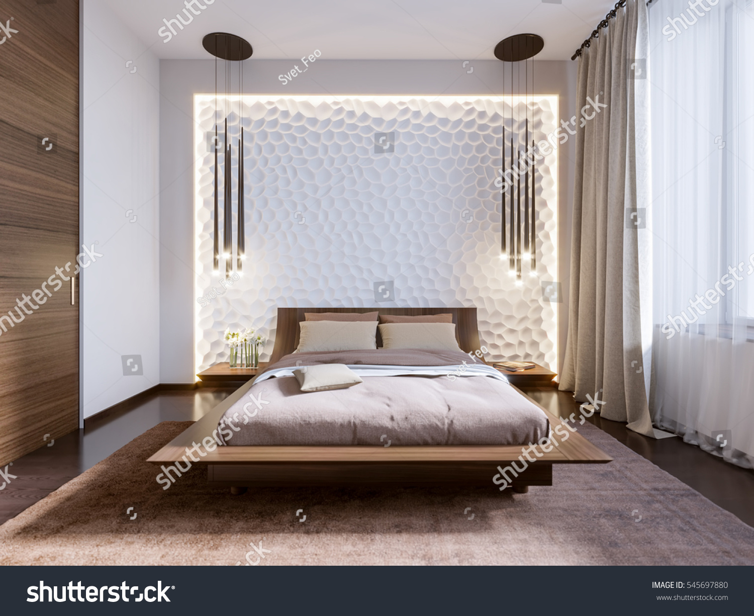 Modern bedroom with 3D panels on the wall  3d render. Modern Bedroom 3d Panels On Wall Stock Illustration 545697880