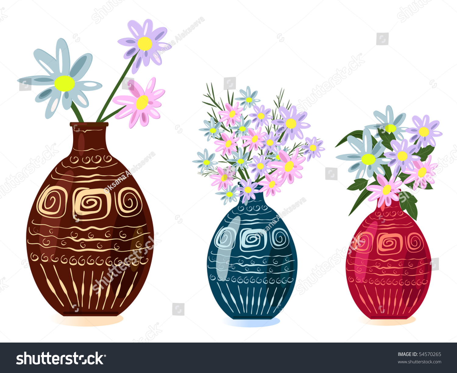 Decorative Vase With Flowers Stock Vector Illustration
