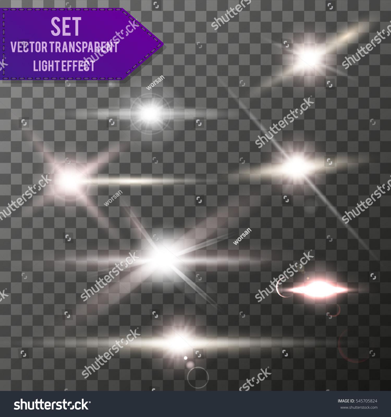 Realistic Lens Flare Elements Collection Light Effect Transparent Design Vector illustration
