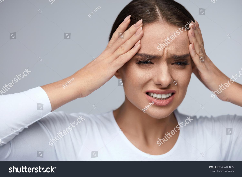 Headache Pain Woman Feeling Terrible Strong Stock Photo Edit Now