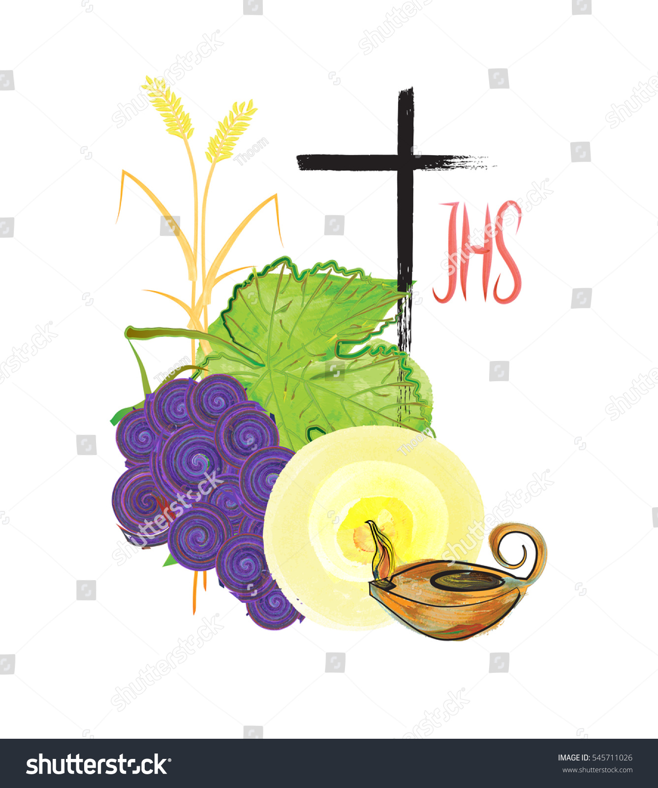 Eucharist Symbols Bread Wine Wheat Ears Stock Illustration 545711026