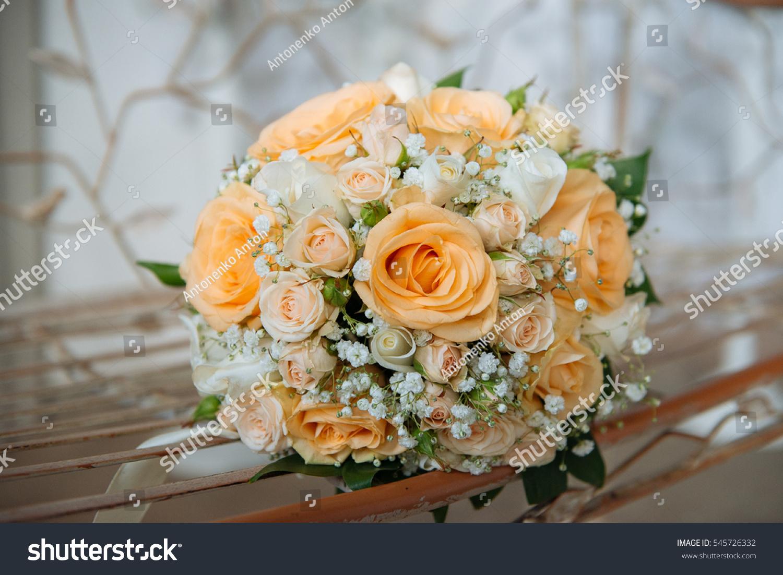 Beautiful Big Wedding Bouquet Orange Roses Stock Photo Edit Now