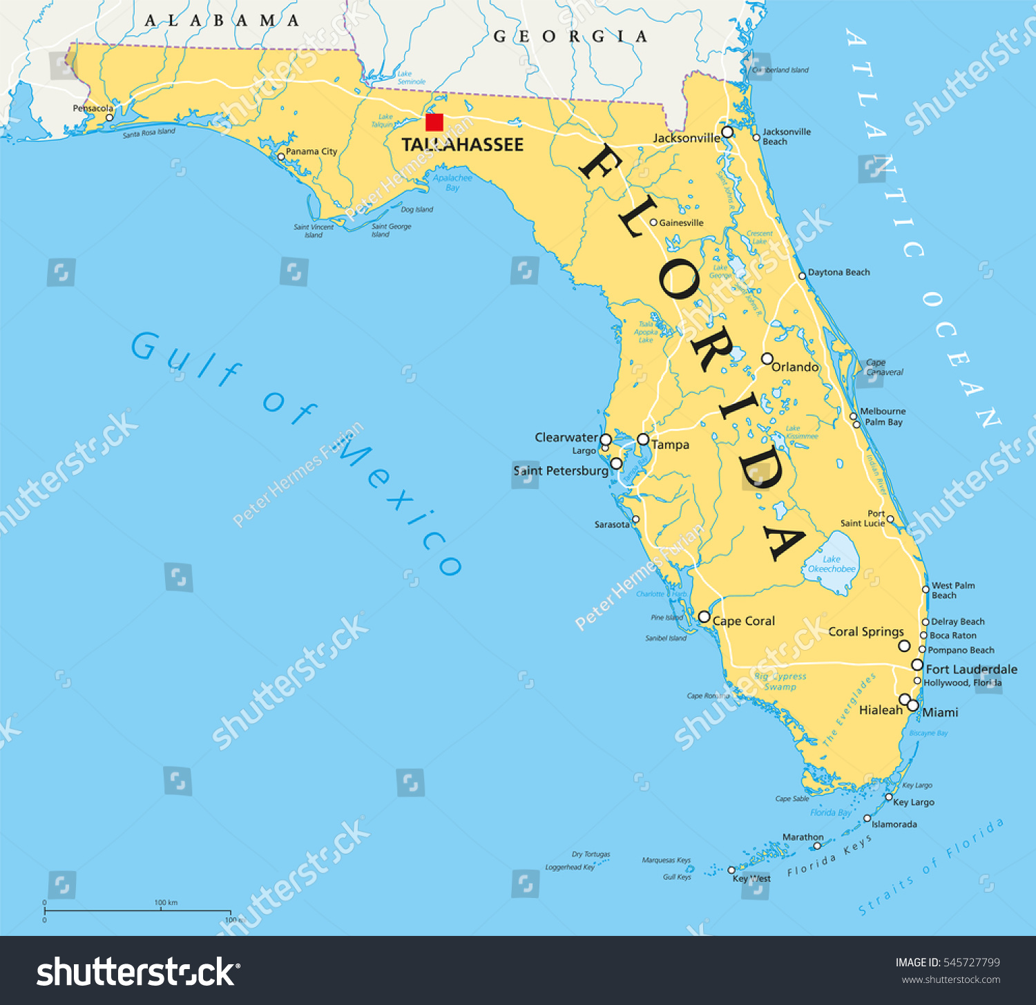Florida Political Map Capital Tallahassee Borders Stock Photo Photo