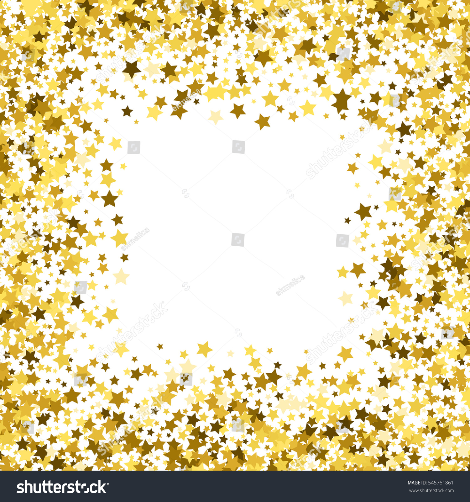 square gold frame or border of random scatter golden stars on white background design element