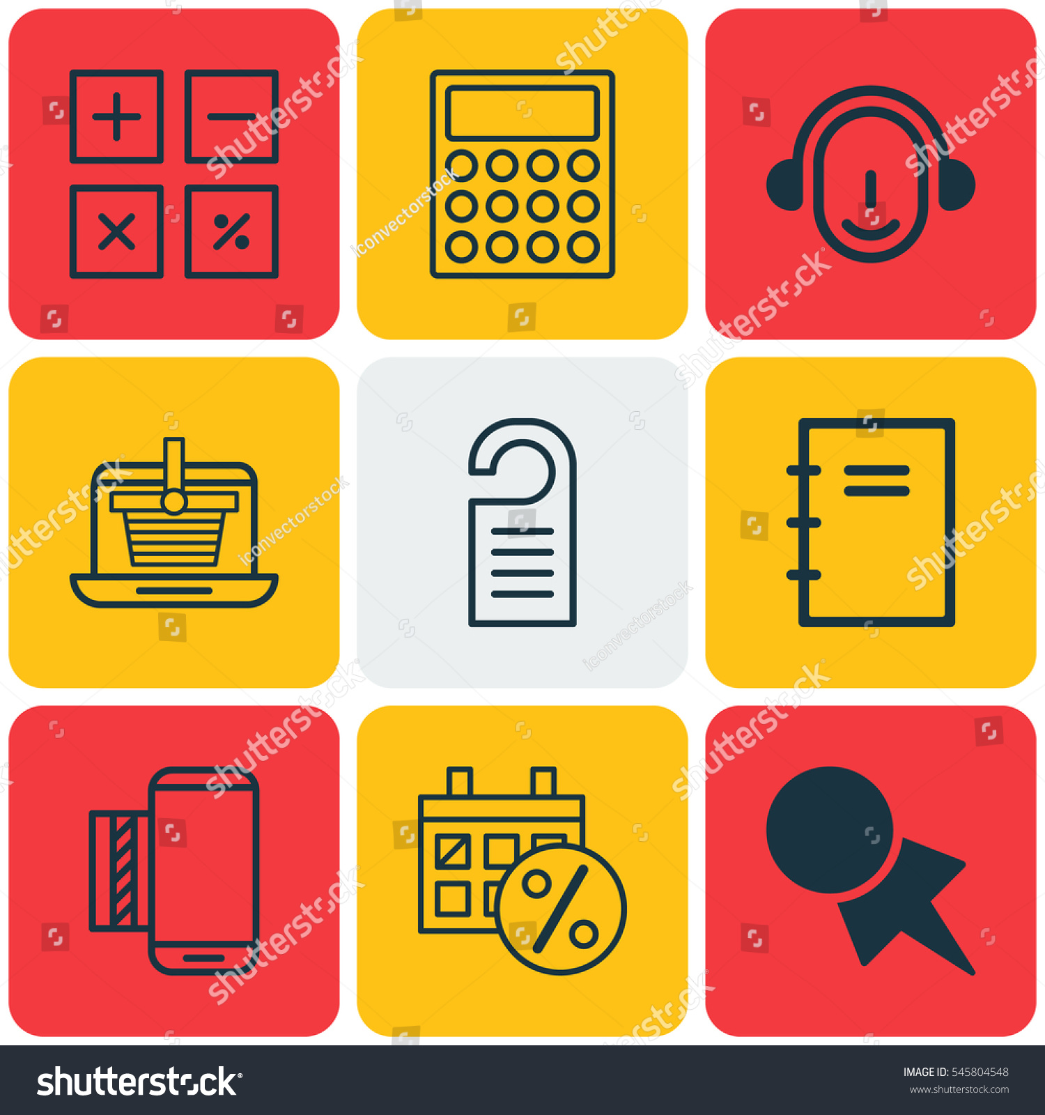 Set 9 Commerce Icons Includes E Trade Stock Vector Royalty Free