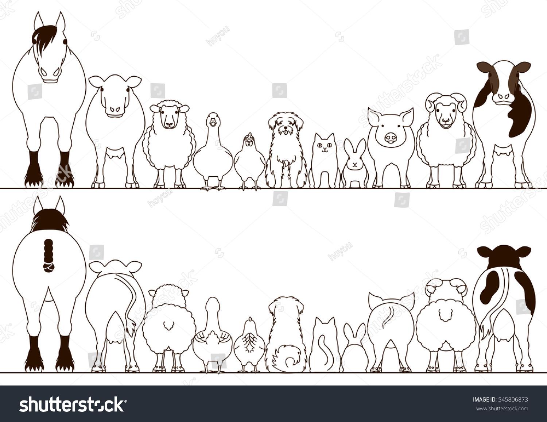 Line Art Farm Animals : Farm animals border set front view stock vector