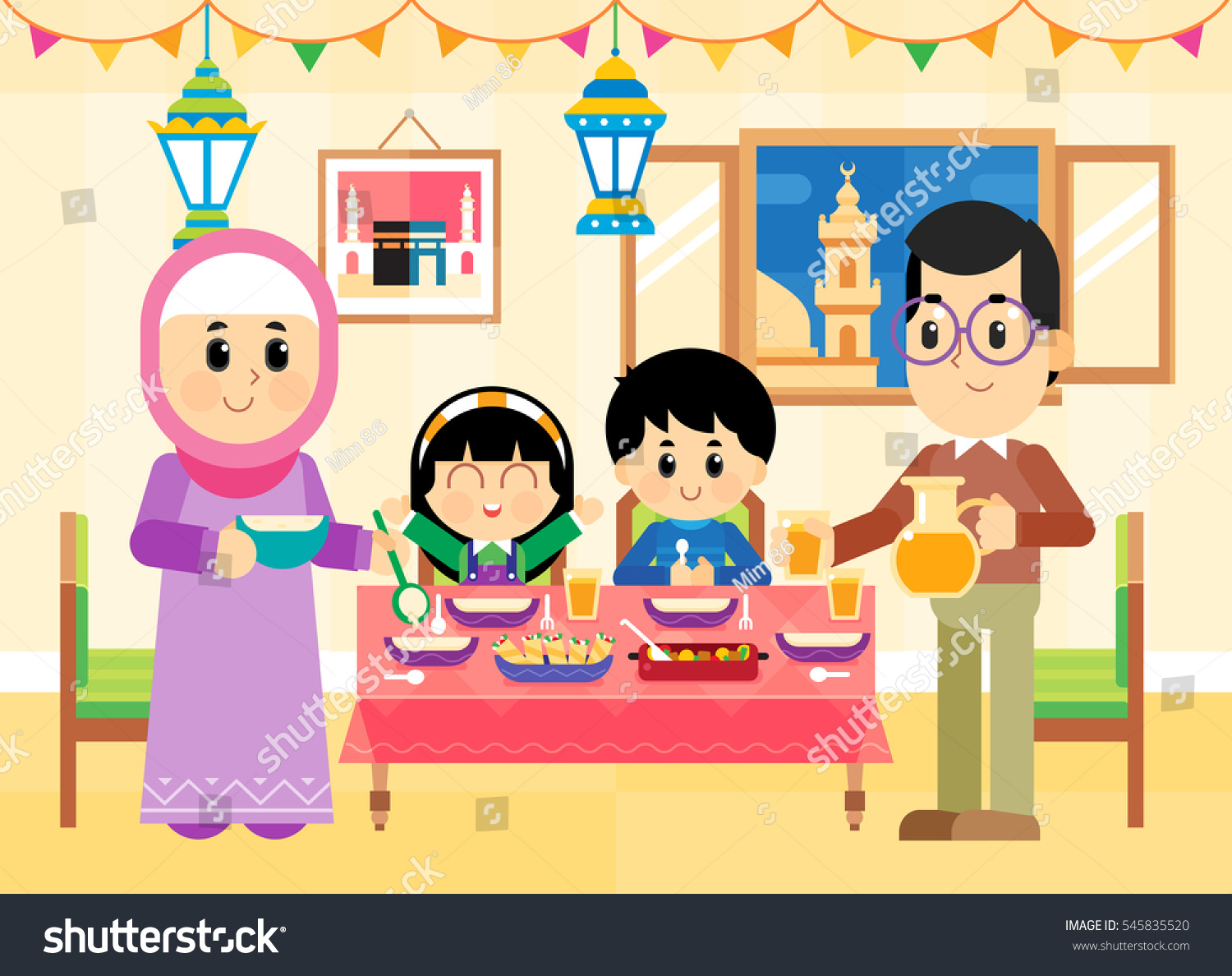 Muslim Middle Eastern Family Getting Ready Stock Photo (Photo ... for Ramadan Iftar Clipart  174mzq