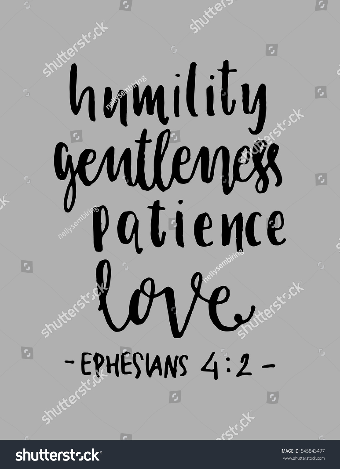 Bible Verses Love Quotes Humility Gentlenesspatience Love Hand Lettered Quote Stock Vector