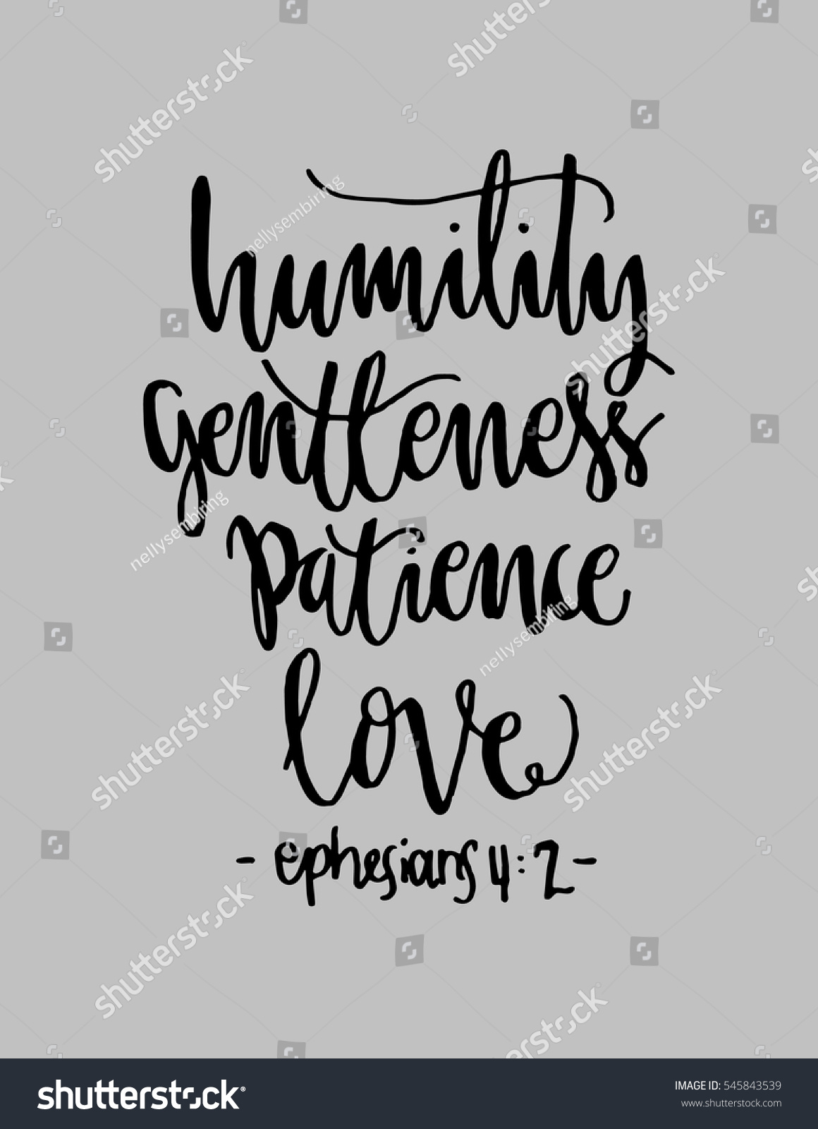 Humility gentlenesspatience love hand lettered quote stock