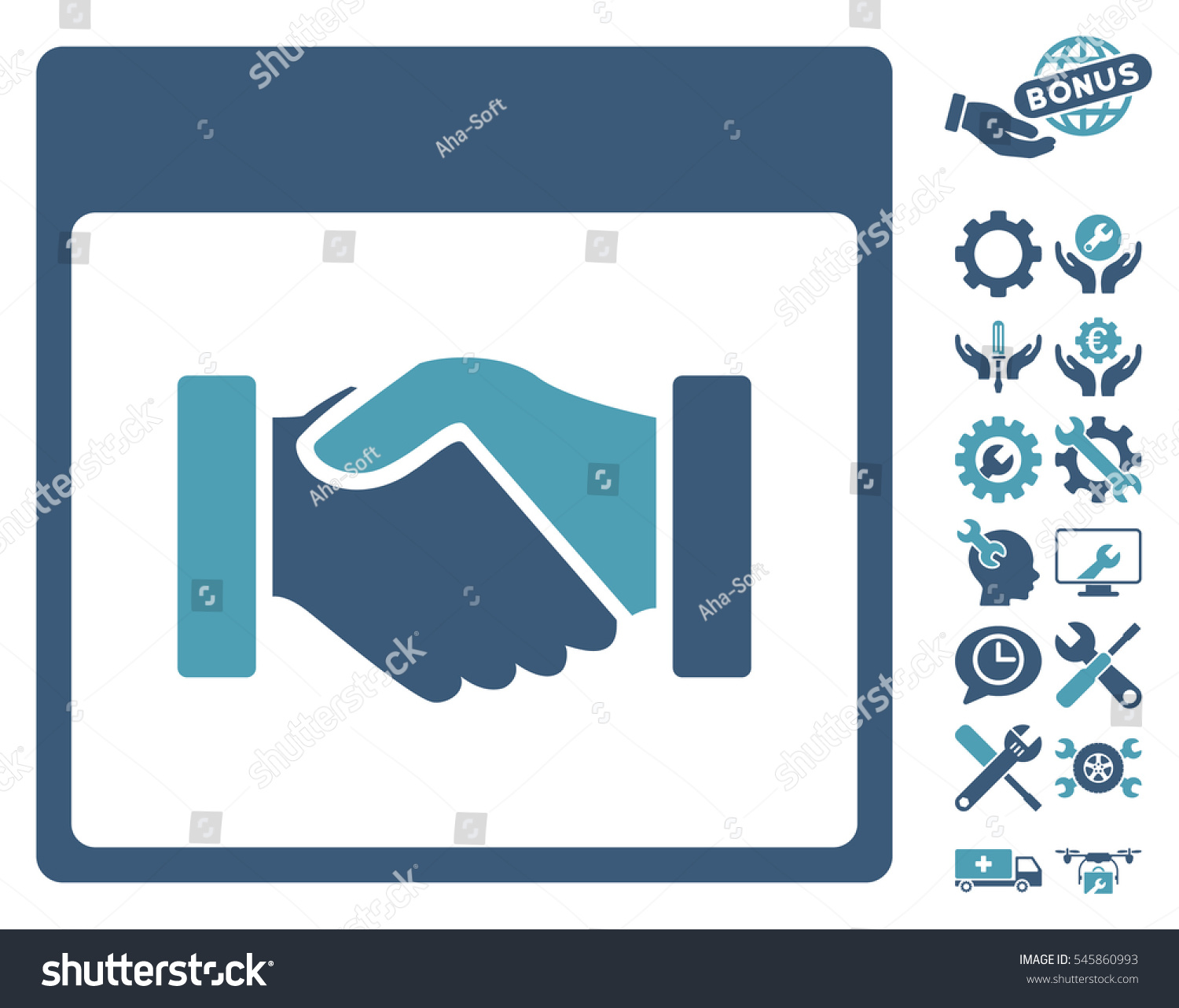 Handshake Calendar Page Pictograph Bonus Settings Stock Vector