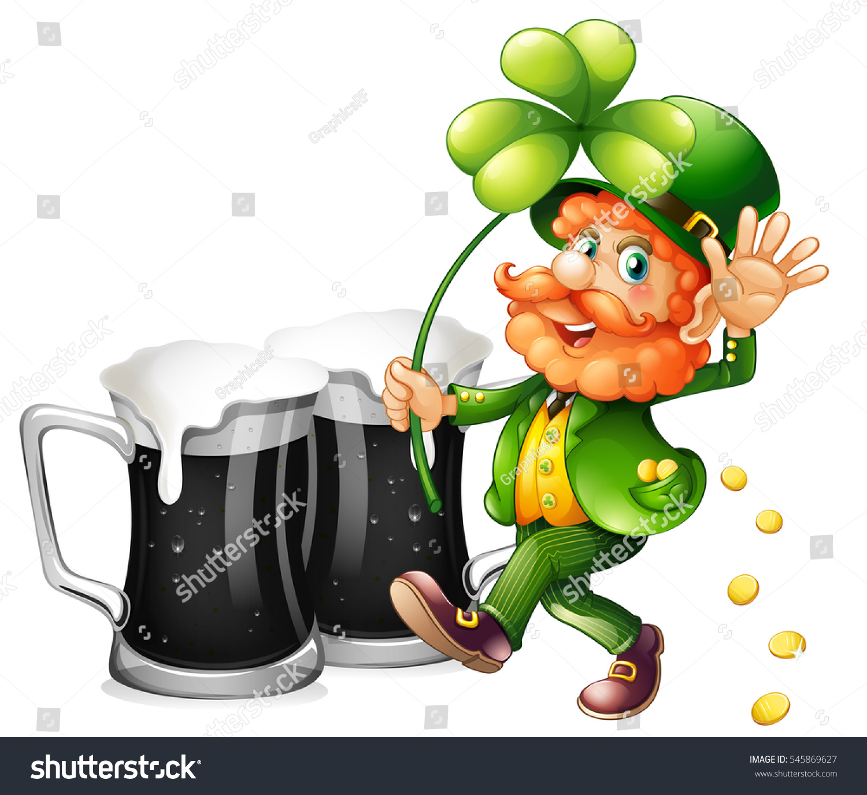 leprechaun black beer illustration stock vector 545869627