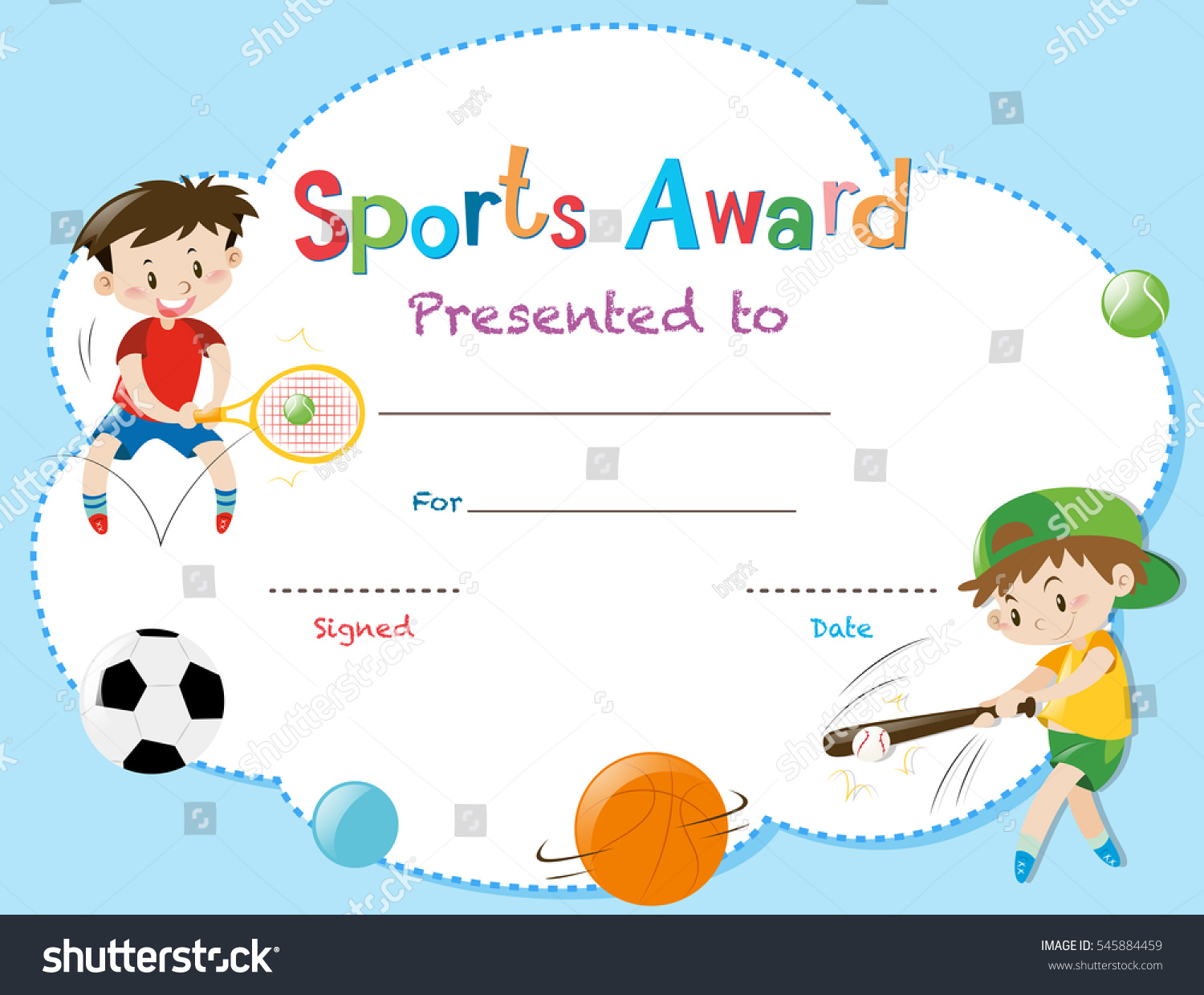 Certificate template two boys playing sports stock vector certificate template with two boys playing sports illustration alramifo Images