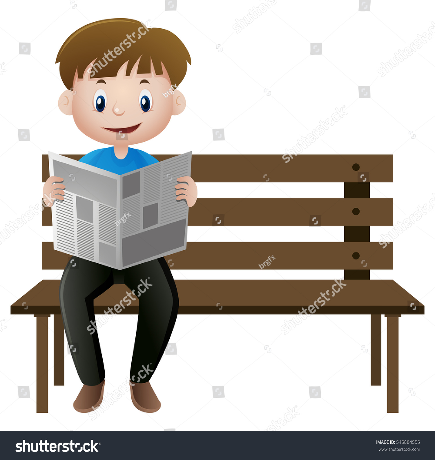 man reading newspaper on bench illustration stock vector (royalty