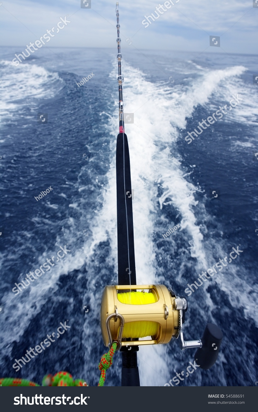 Fishing big game rod reel on stock photo 54588691 for Fishing boat games
