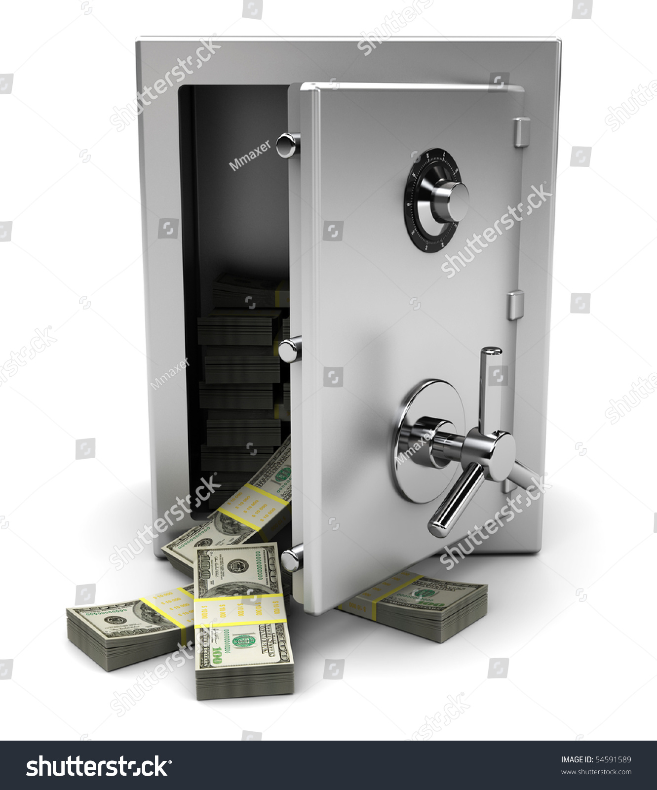 3d Illustration Opened Steel Safe Money Stock Illustration ...