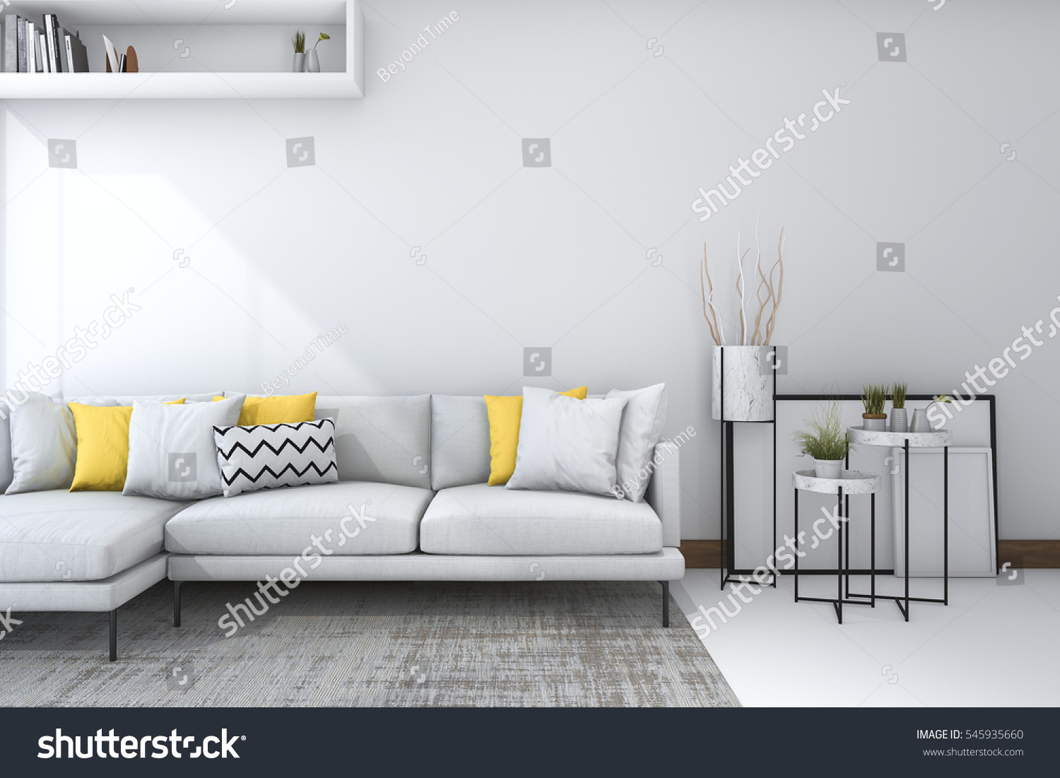 3d Rendering Yellow Sofa White Living Stock Illustration