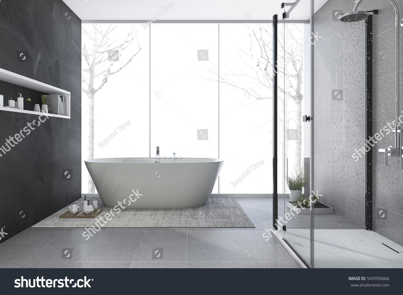 3 D Rendering Modern Design Bathroom Winter Stock Illustration ...