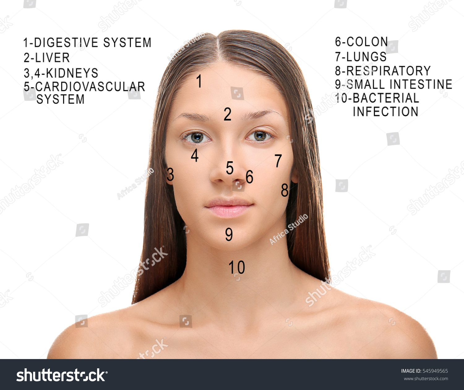 . young woman acne face map on stock photo   shutterstock