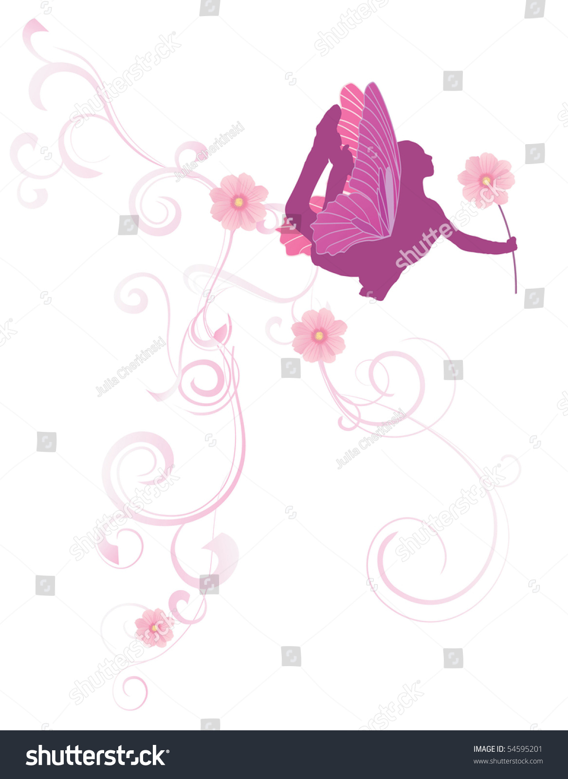 Pink Flowers Fairy Stock Vector Royalty Free 54595201 Shutterstock