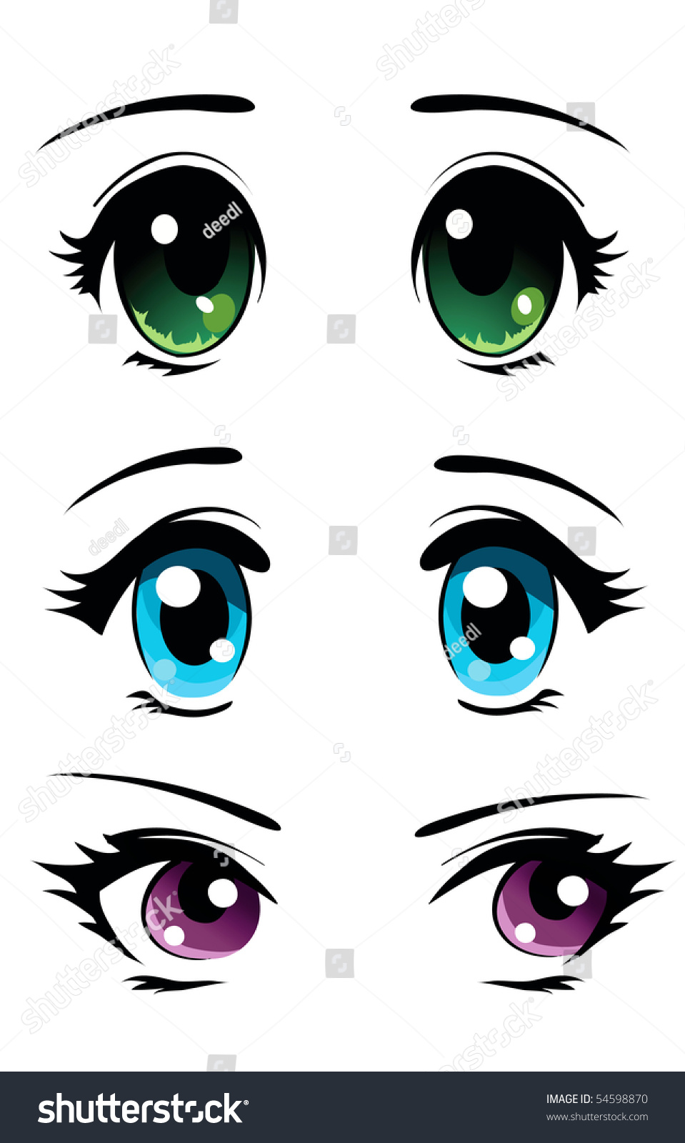 Set Of Cartoon Anime Eyes Stock Vector 54598870 : Shutterstock