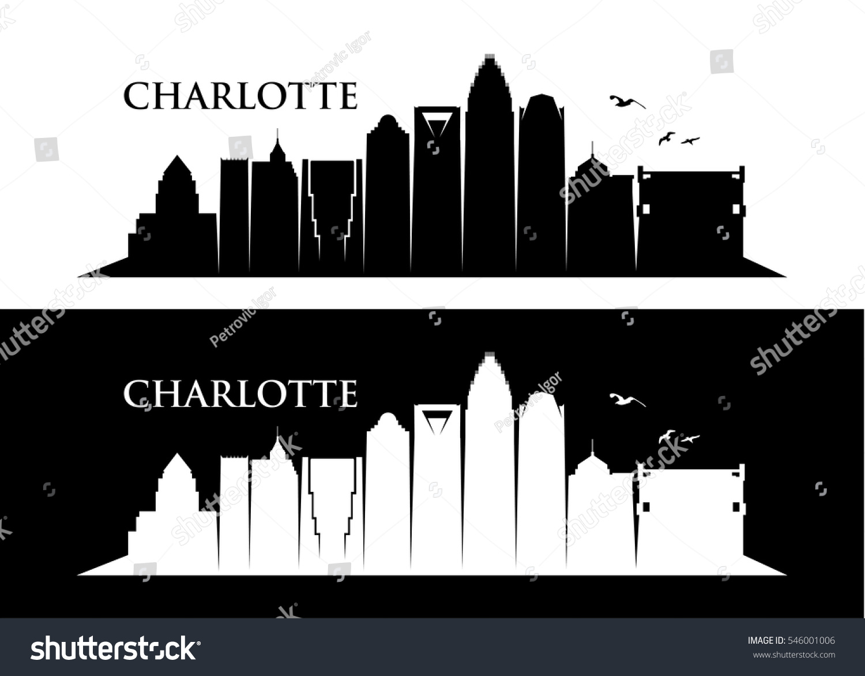 Cityscape Wall Stickers Charlotte Skyline North Carolina Vector Illustration Stock