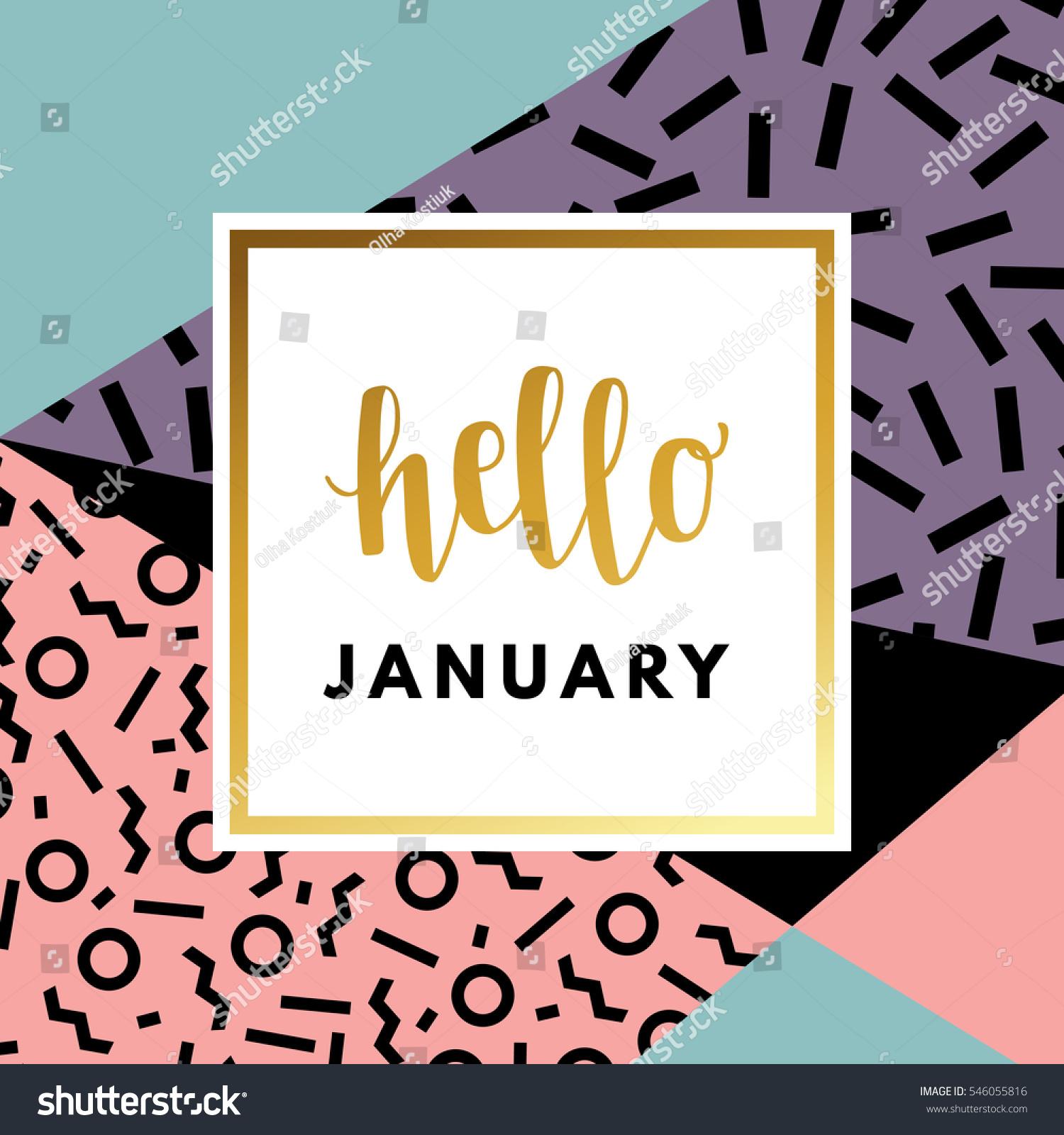 Hello January Creative Printable Journaling Wedding Stock Vector