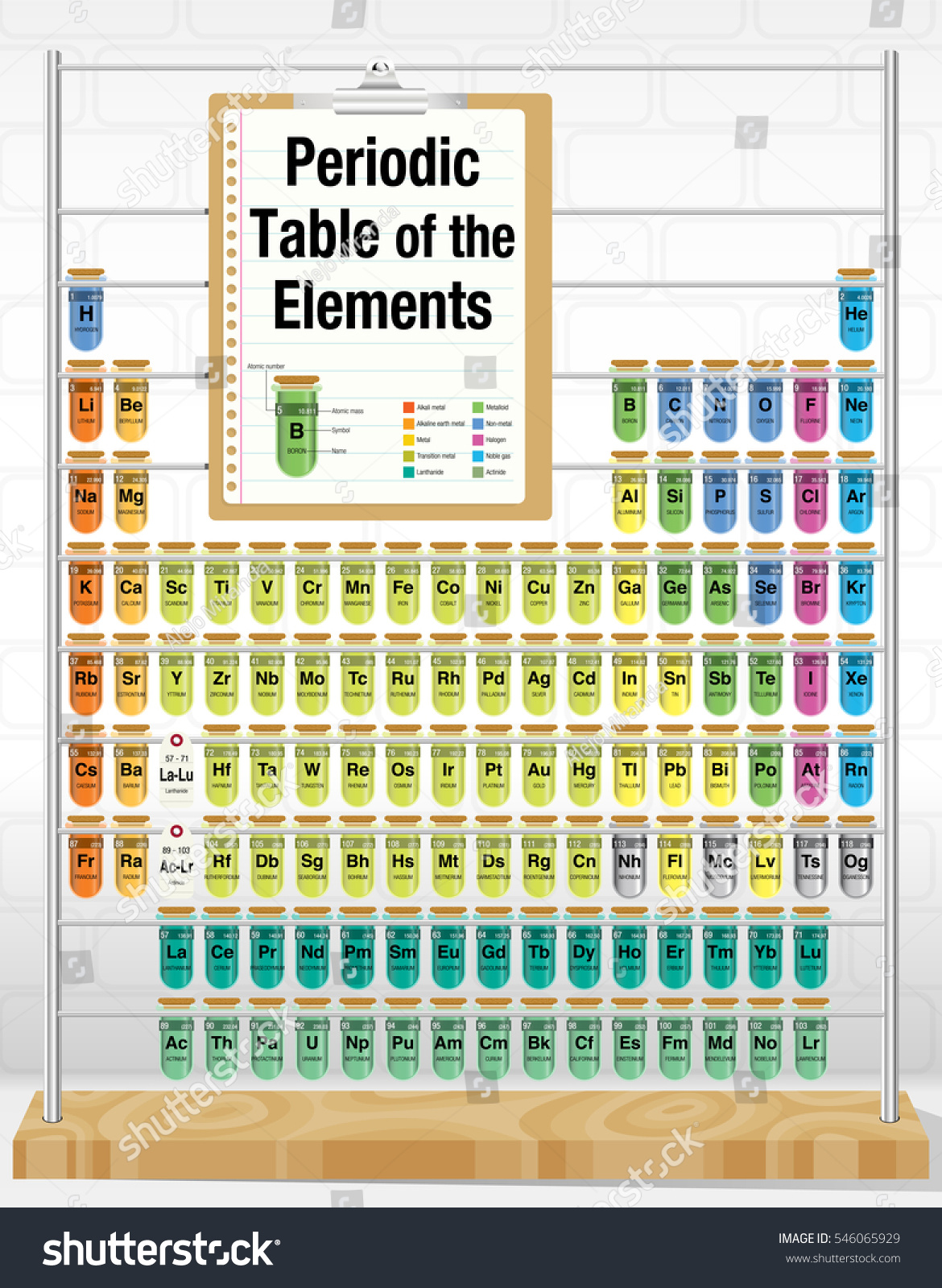Periodic table elements consisting test tubes stock vector periodic table of the elements consisting of test tubes with the names and number of each gamestrikefo Images