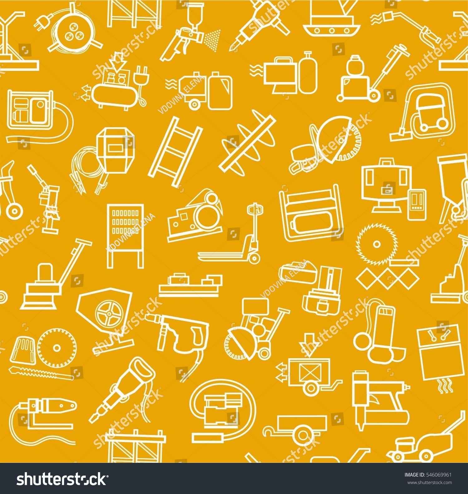 Construction Equipment And Tools Seamless Background Yellow Contour Vector With Images