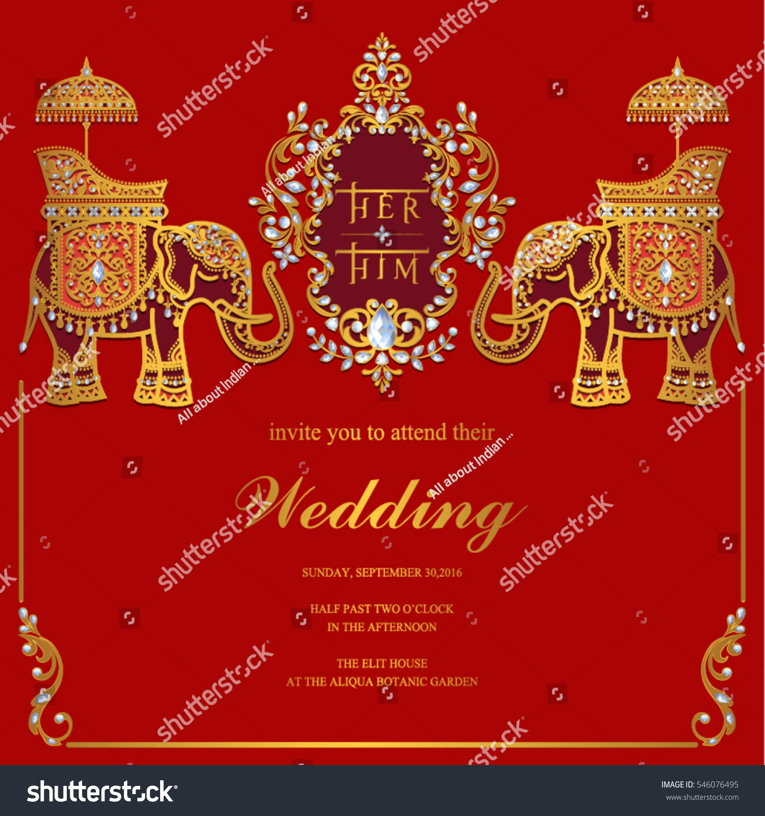 Indian Wedding Invitation Card Templates Gold Stock Vector