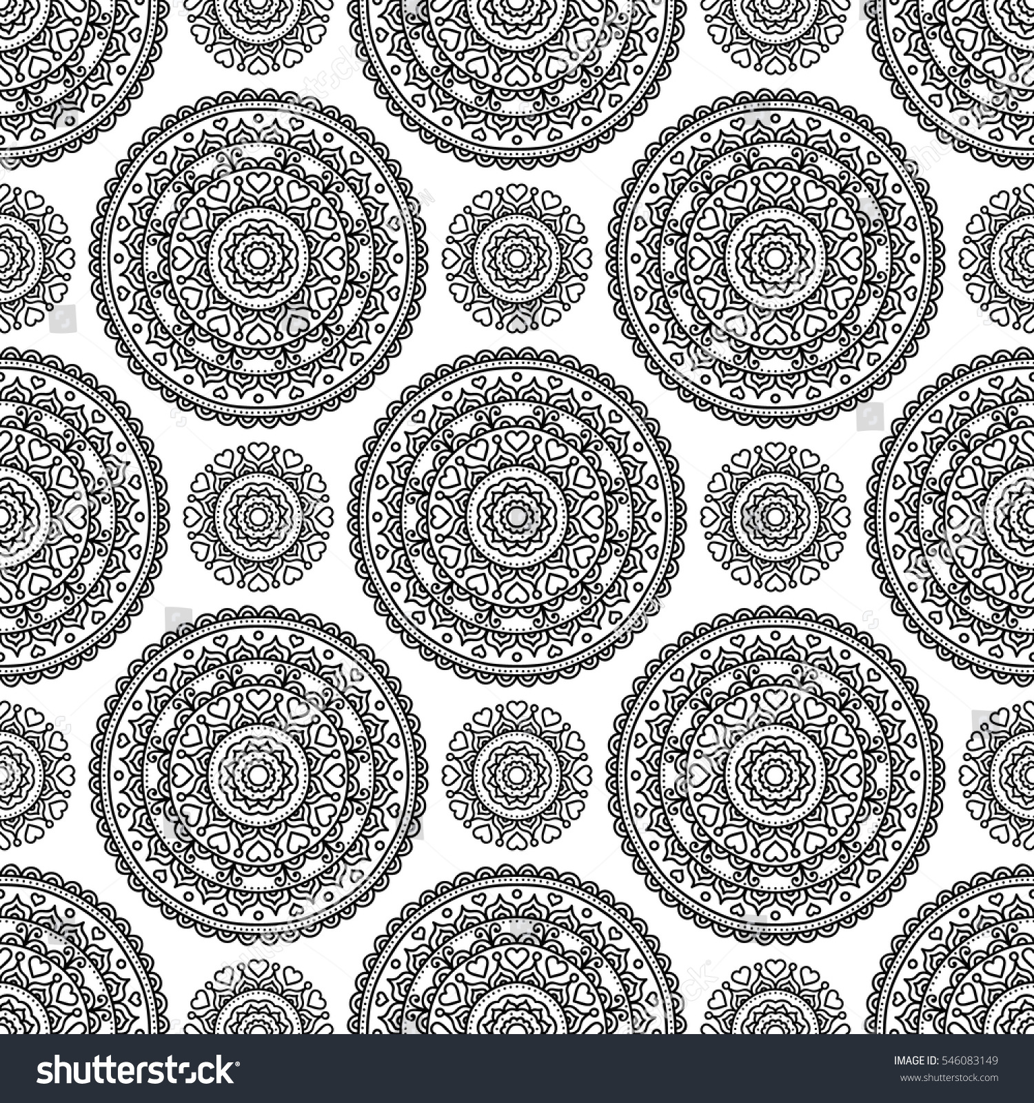 Vector seamless pattern with ethnic tribal mandala Hand drawn doodle mandala with hearts and dots Coloring page Black and white