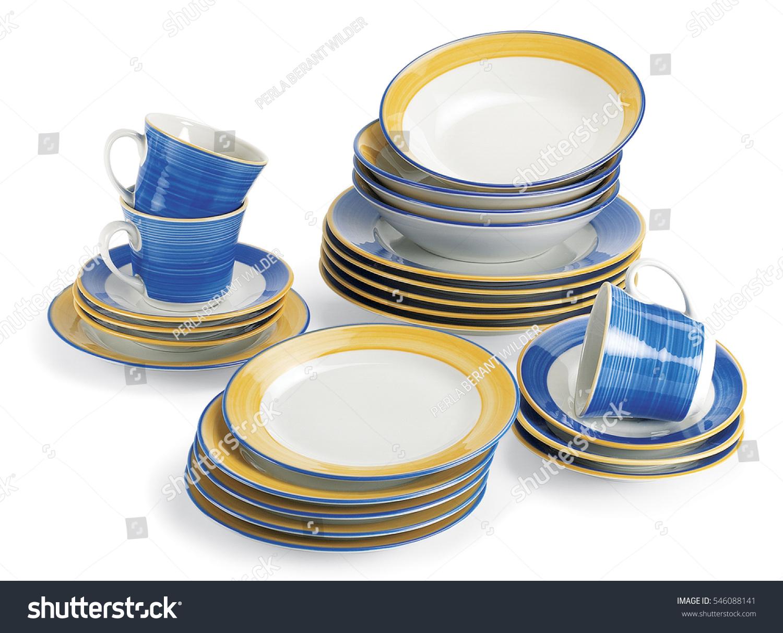 Crockery Porcelain Clean Plates Cup Set Stock Photo Edit Now