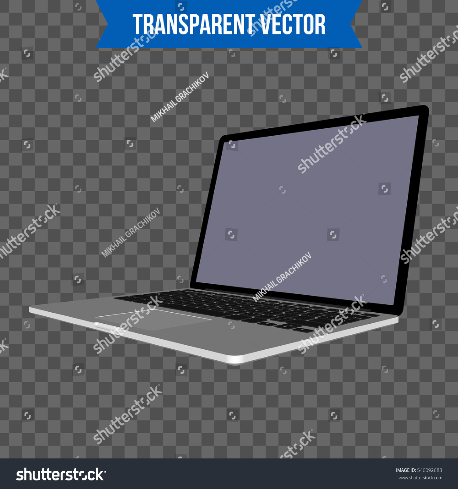 Abstract Creative Laptop Isolated Mockup On Stock Vector (Royalty ...