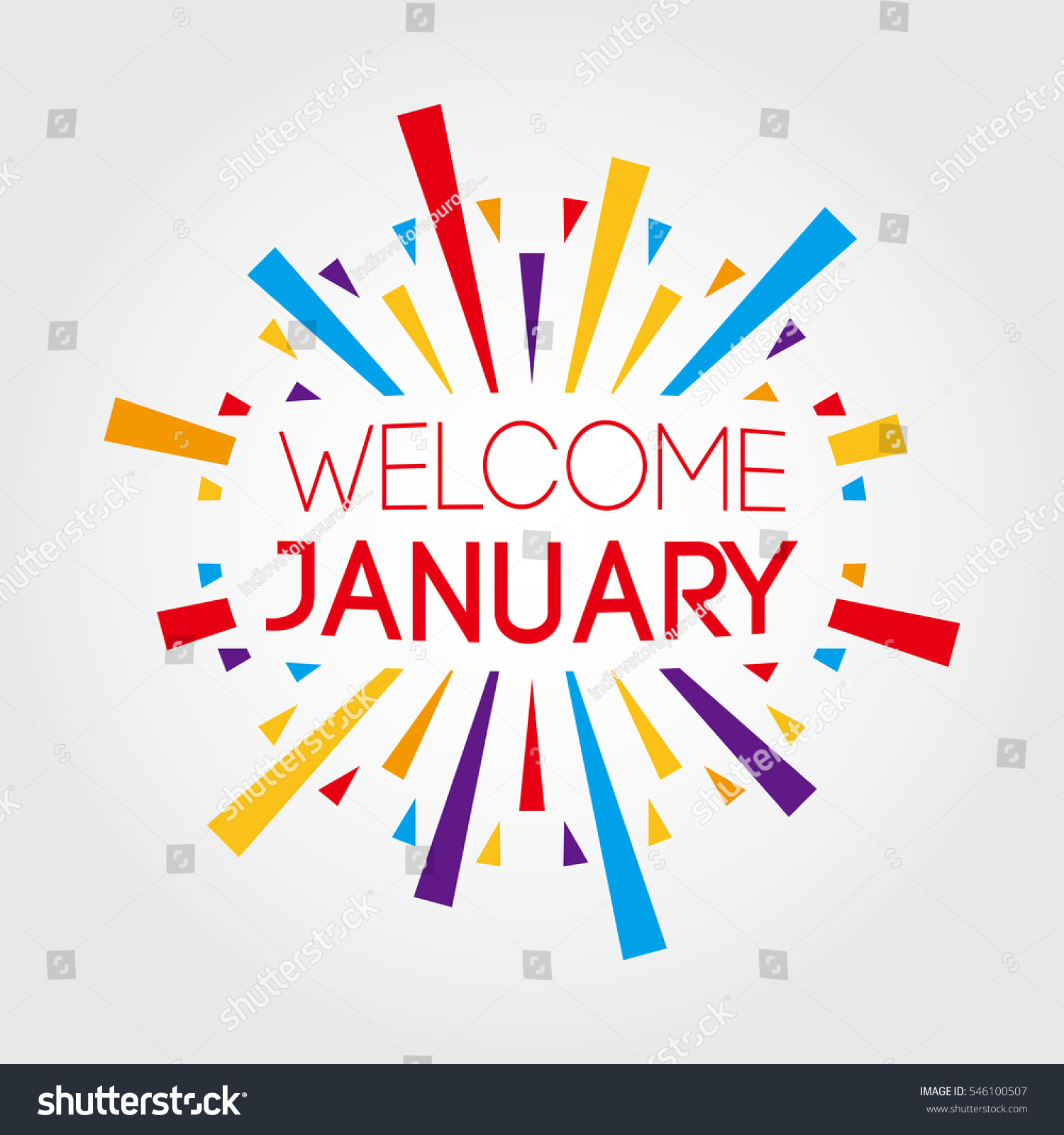 Welcome January Vector Illustration Poster Banner Stock
