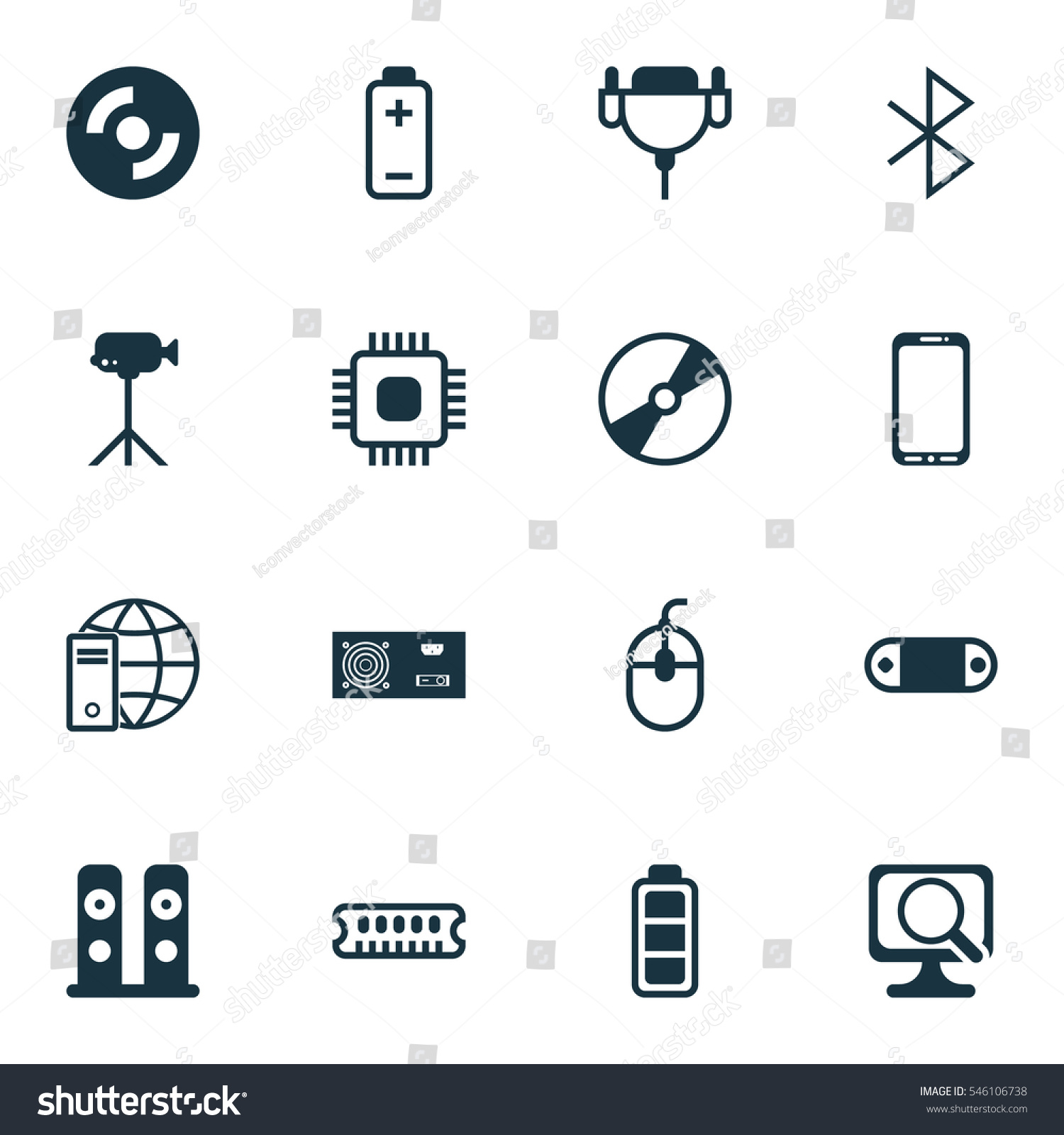 Set 16 Computer Hardware Icons Includes Stock Vector 546106738