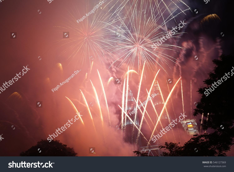 Rainbow Fireworks Celebration Colorful Abstract Image With: Kuala Lumpur January 1 2017 New Stock Photo 546127369