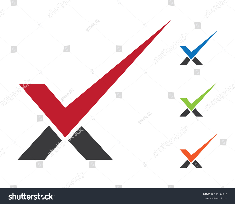 check mark v letter logo template のベクター画像素材 ロイヤリティ