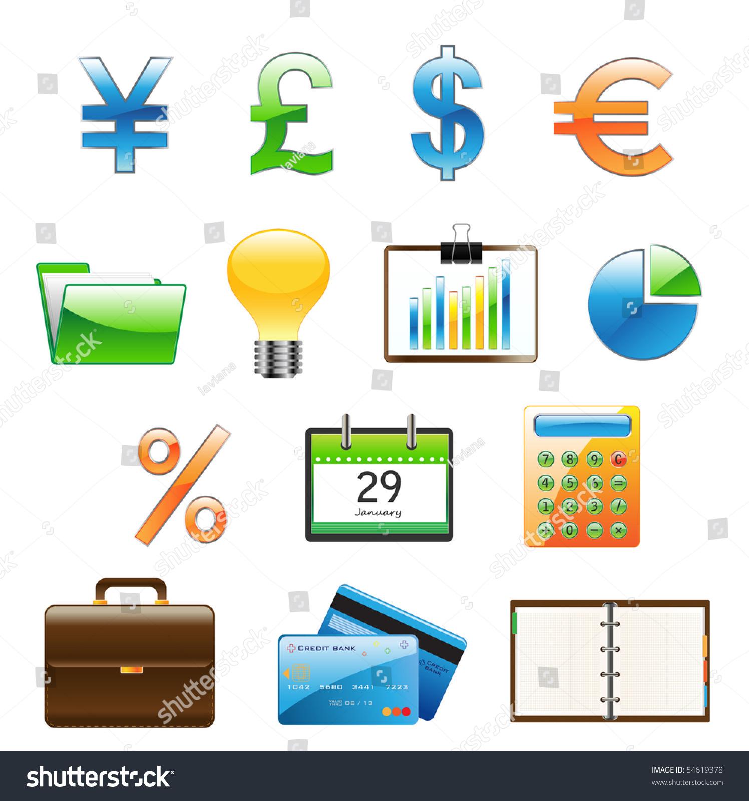 Finance Icon Set: Business Finance Icon Set Stock Vector 54619378