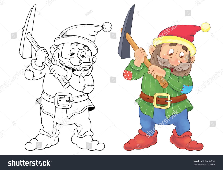 snow white seven dwarfs fairy tale stock illustration 546200998