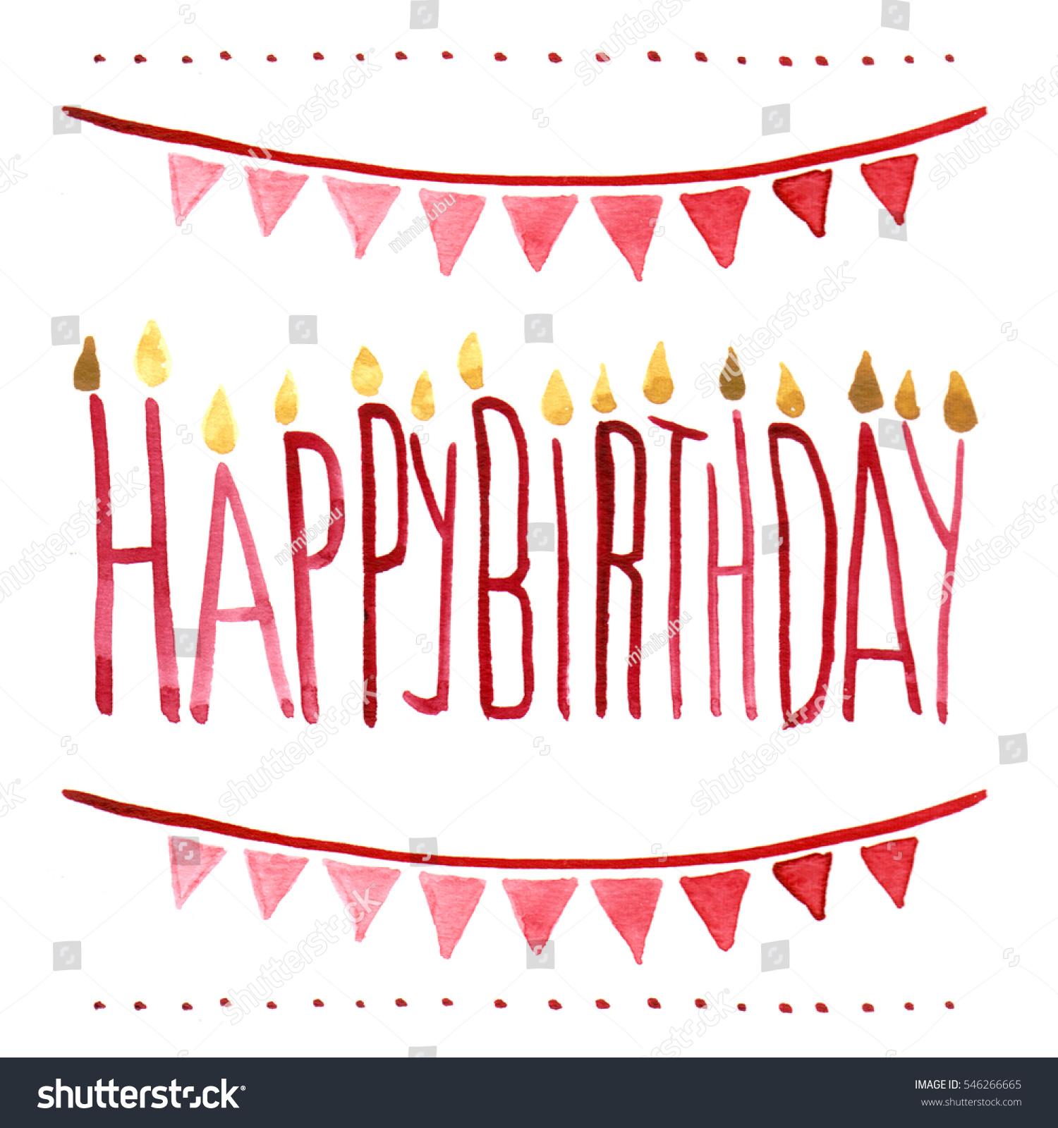 Isolated Watercolour Illustration Happy Birthday Card