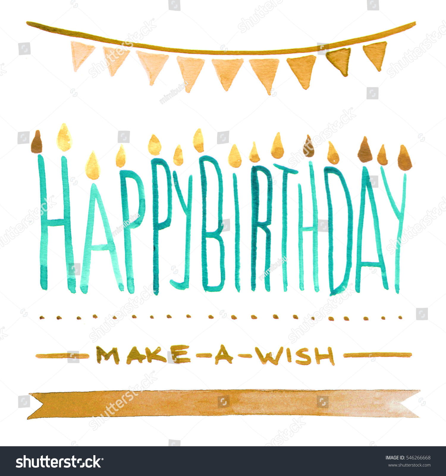 Happy Birthday Lettering Maker ~ Isolated watercolour illustration happy birthday make stock shutterstock
